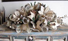 Brown Silver and Gold Elegant Christmas Centerpiece Holiday Wreath Indoor Outdoor Table Deco Mesh Seasonal Gift Centerpiece! Christmas Swags, Holiday Wreaths, Christmas Crafts, Deco Mesh Ribbon, Deco Mesh Wreaths, Burlap Wreaths, Elegant Christmas Centerpieces, Christmas Decorations, Burlap Centerpieces