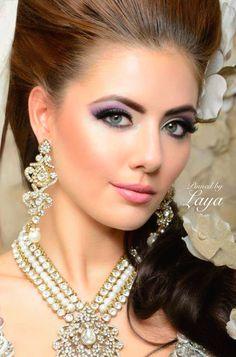 ❋Indian Bride❋Laya Beautiful Face Images, Most Beautiful Women, Indian Bridal Makeup, Bridal Beauty, Pakistani Jewelry, Indian Jewelry, Wedding Jewelry Sets, Bridal Jewelry, Diamond Necklace Simple