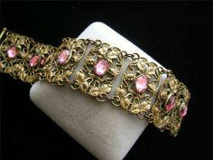 Antique Art Nouveau Period c1910 Ornate Gilt Brass Bracelet Pink Glass Stones | eBay