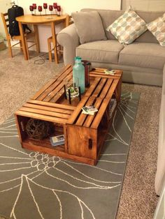 rolling rectangle wood crate coffee table | wood crate coffee