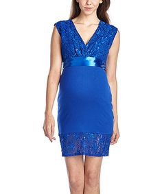 dc345aeabfb6c Hello Miz Maternity Hello Miz Royal Blue Lace Tie-Back Maternity Surplice  Dress