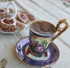 Turkish coffee in a beautiful cup. http://www.turkishstylegroundcoffee.com/turkish-coffee-recipe/ #turkishcoffee #turkishcoffeerecipe