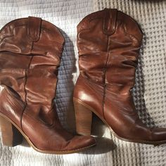 Steven Madden leather short cowboy boots Visible signs of wear. They look vintage which I love!! Have to make more room in my closet so must sell these!! Steve Madden Shoes Ankle Boots & Booties