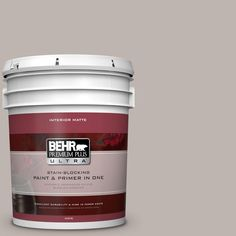BEHR Premium Plus Ultra 5 gal. #PPU18-12 Graceful Gray Flat/Matte Interior Paint