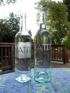 I just made these etched upscaled wine bottles turned into water pitchers. A little time consuming, but turned out great!