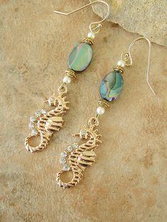 Exotic Seaside Seahorse Earrings Crystal Gold by BohoStyleMe