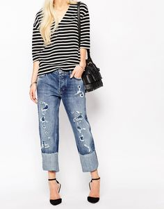 Image 1 ofMih Jeans Phoebe Boyfriend Jeans With All Over Rips