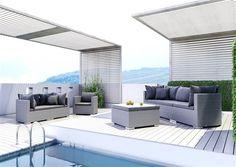 oltre umely ratan sedacia suprava okruhla Venezia gray Outdoor Garden Furniture, Outdoor Decor, Backyard Fences, Sun Lounger, Rattan, Sofa, Praha, Design, Home Decor