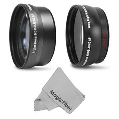 Canon - 58MM 2.2X Telephoto and 0.43X Wide Angle (with Macro) High Definition Lenses for CANON REBEL and EOS Series Cameras including T4i T3i 60D 7D 6D 5D T2i T1i XT XTi XSi + MagicFiber Microfiber Lens Cleaning Cloth