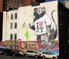 Banksy's I Love New York Rat in SoHo, New York City