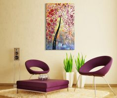 Framed Hand-painted Abstract Knife Oil painting on Canvas Wall Art Red Flower Texture Artwork for Living Room