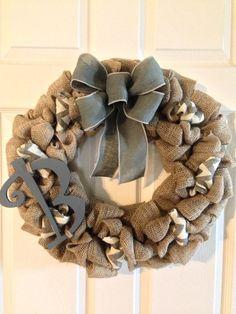 CHEVRON BURLAP WREATH with Initial, Summer Wreath, Spring Wreath, Wedding Gift, Burlap Wreath , Front Door Wreath, Fall Wreatb on Etsy, $68.00