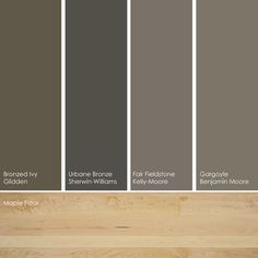 Deep taupe paint picks. As neutrals, these colors work with any color floor, but if your particular space doesn't get much light, you might want to choose a light-colored flooring, such as maple.    From left to right: Bronzed Ivy GLN23, from Glidden; Urbane Bronze SW7048, from Sherwin-Williams; Fair Fieldstone KM3959-3, from Kelly-Moore; and Gargoyle 1546, from Benjamin Moore.
