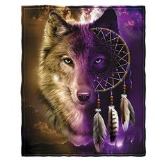"Wolf Dreamcatcher Fleece Throw Blanket - Ultra-soft, warm and cozy throws are exceptionally durable. - Printed with bright vibrant colors. - Perfect for home, at a game or on a picnic - Size: 50"" x 60"". - 100% polyester, machine washable"