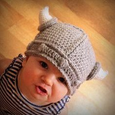 Viking hat pattern from Ravelry, it's crochet, but I might attempt to make it, it is so darn adorable!