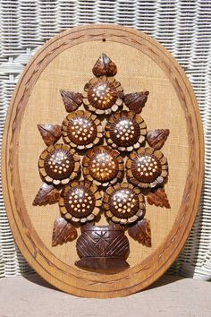 Vintage Tropical Wall Art, Carved Coconut Shell Flowers Plaque, Island Art, Carved Wood Flowers