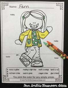 Color By Code Back to School Vocabulary Freebie - Two Color By Code Back to School Vocabulary Printables, Perfect for Your Students' Desks on the First Day of School! #TPT #FernSmithsClassroomIdeas #Free