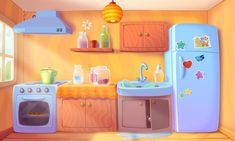 Bubble Milk Hero on Behance Kitchen Background, Game Background, Cartoon Background, Animation Background, Bg Design, Game Design, Graphic Design Trends, Environment Concept Art, Environment Design