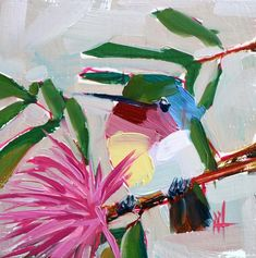 Hummingbird and Pink Powderpuff Tree Original Oil Painting Angela Moulton