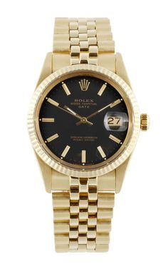 Vintage 14K Yellow Gold Rolex Oyster Perpetual Quick-Set Date With Black Dial by CMT Fine Watch and Jewelry Advisors - Moda Operandi
