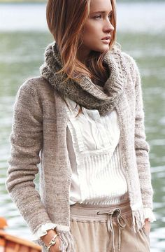 White shirt front details! Oatmeal sweater.