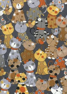 Cute Whimsical Daisy Polka Dot Dots Kitty Cat Cats Fabric Brown Tan on Gray TT