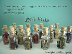 Instant Mini Collection. Herbs, Potions, Spells, Amulets 13 Glass Vials-Garden Spells Collection from The Dirty Housewife. via Etsy.