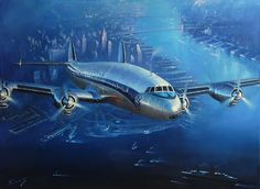 Lockheed Super Constellation (Air France) over New York by Lucio Perinotto