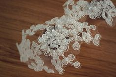 alencon lace applique with beads and pearls for bridal by lacetime