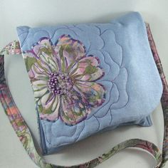 Quilted Flower Purse Blue Crossbody Purse by KathyKinsella on Etsy