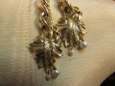 Earrings from RePurposed Gold Leaves Chains & by BonBonsandBaubles, $23.00