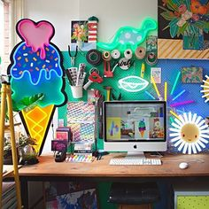 A super fun #workspace from the home of @electric_confetti  (Click link above in our profile to take the tour on Apartment Therapy!) : @nataliejeffcott