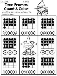 Halloween Teen Frames Count & Color >> Part of the Halloween Kindergarten Math Worksheets
