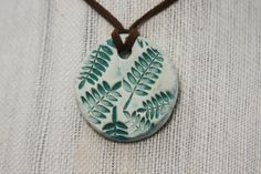 Natural Clay Diffuser Necklace, Pendant, or Car Air Freshener - Round, with Green Fern