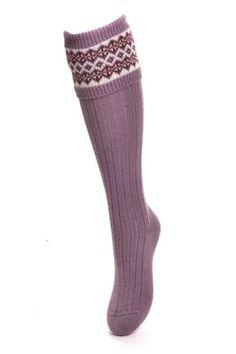 Campbell's of Beauly - Lady Fairisle Shooting Socks New Lilac Ladies Socks, Tweed, Lilac, Lady, Women, Fashion, Moda, Fashion Styles, Syringa Vulgaris