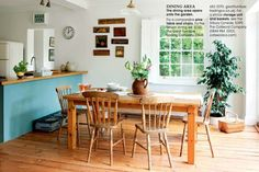 Reclaimed pine wood floors and butcher block countertops!