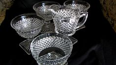 Westmoreland Glass Co., Clear Hobnail Glass Collection, Cottage Chic Condiment Stemware, Vintage Set 5, Gift For Her, Square…