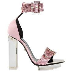 Preowned Versace Pink Crystal Embellished Plexi Platform Sandals (€2.425) ❤ liked on Polyvore featuring shoes, sandals, high heels, pink, heeled sandals, high heels sandals, pink platform sandals, pink high heel shoes and high heel shoes