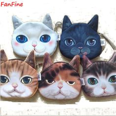 Novelty Girl 2015 Brand New Fashion Cartoon Cute Cat Face Zipper Case Coin Case Purse Wallet Makeup Buggy Bag Pouch