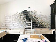 Geometric shaped backsplash design | how to design and install a custom backsplash with Mercury Mosaics | construction2style kitchen remodel