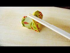割り箸の袋でハートの箸置きを作る方法/Heart Shape Origami with Chopstick Bag /難易度2/箸袋折り紙 - YouTube Cute Origami, Kids Origami, Origami Paper Art, Diy Paper, Japanese Paper Art, Japanese Origami, Chopstick Holder, Chopstick Rest, Wrapping Paper Crafts