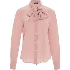 Rossella Jardini Button Down Bow Blouse ($515) ❤ liked on Polyvore featuring tops, blouses, pink, pussy bow blouses, button top, pink button down blouse, button up blouse and bow neck top