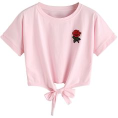 Pink Embroidery Rose Tie Front Short Sleeve T-shirt ($19) ❤ liked on Polyvore featuring tops, t-shirts, tie front t shirt, pink tee, cotton t shirts, embroidery t shirts and pink t shirt