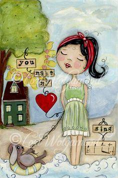 Hand Painted Art, You Make My Heart Sing, Little Girl - Digital Art Print