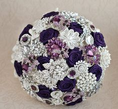 Brooch bouquet. Purple, Ivory and silver wedding brooch bouquet, Jeweled Bouquet.