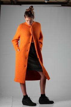 Oyuna kashmir coat with Vivienne Westwood Red Label skirt A/W 2014-15