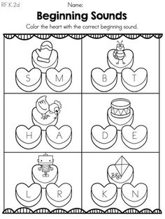 Valentine Beginning Sounds >> Color heart with matching beginning sound >> Part of the Valentine's Day Kindergarten Literacy Worksheets. Repinned by  SOS Inc. Resources http://pinterest.com/sostherapy.