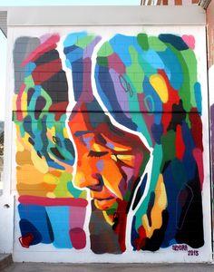 Color block spray paint mural by Sendra in Almeria, Spain.