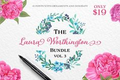 Laura Worthington fonts bundle for $19. Instant download calligraphy fonts