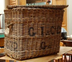 old wicker baskets French Baskets, Old Baskets, Vintage Baskets, Wicker Baskets, Wicker Basket With Lid, Old Wicker, Architectural Antiques, Barrels, Buckets